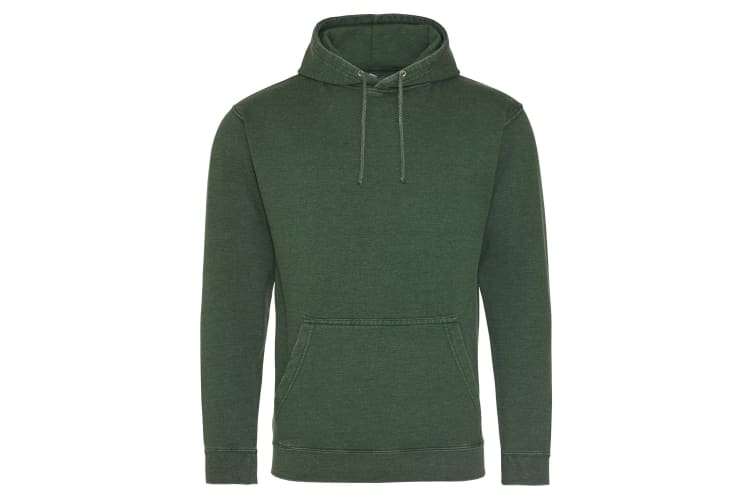 AWDis Hoods Adults Unisex Washed Look Hoodie (Washed Bottle Green) (M)