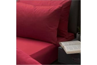 Belledorm Brushed Cotton Fitted Sheet (Red) (Superking)