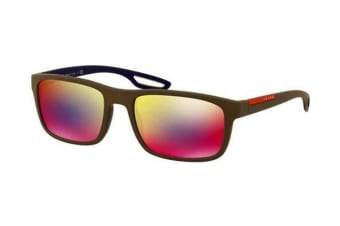 Prada Linea Rossa PS03RS 56mm - Brown Rubber (Grey Blue Red Mirror lens) Mens Sunglasses