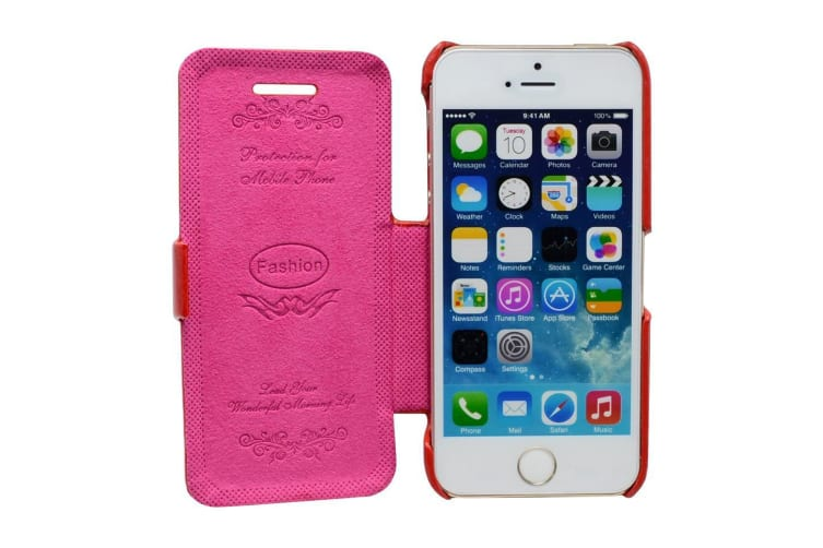 For iPhone 5C Case Fashion Stylish High-Quality Durable Flip Leather Cover Red
