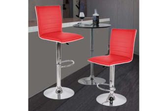 2x PU Leather Swivel Bar stool Gas Lift Adjustable RED (ED0215)