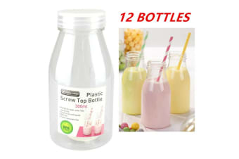 12 x 300ML PLASTIC MILK BOTTLE CANDY JAR CONTAINER WHITE LID PARTY LOLLY BUFFET JUICE