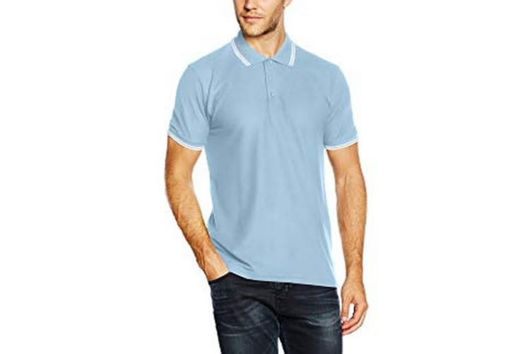 Fruit Of The Loom Mens Tipped Short Sleeve Polo Shirt (Sky/White) (S)