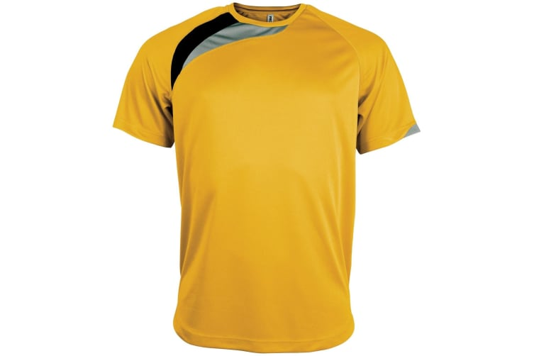 Kariban Proact Mens Short Sleeve Crew Neck Sports T-Shirt (Yellow/ Black/ Storm Grey) (XL)