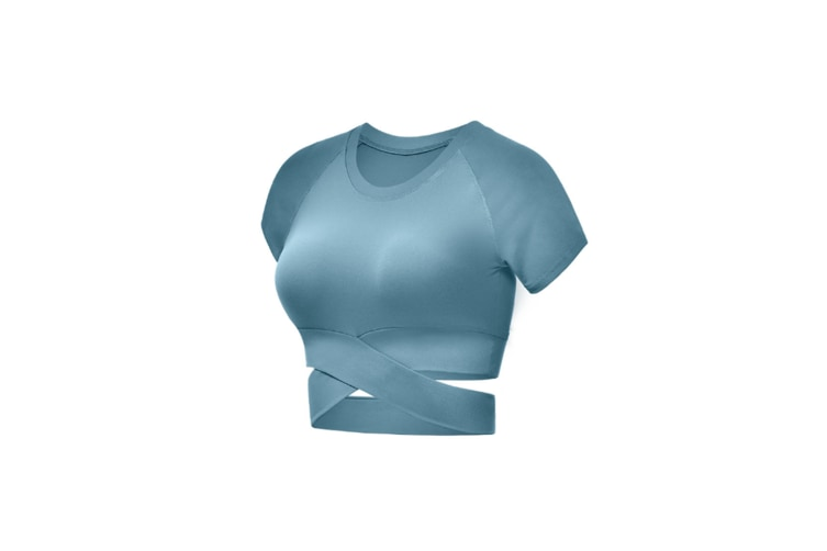 Short Sleeve Crop Tops For Women Workout Yoga Gym Top Lounge T Shirts Water Blue M