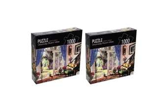 2x 1000pc Crown Huntington Green Series Doorway Room 68.6cm Jigsaw Puzzle Toy