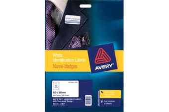 AVERY LABEL NAME BADGE L7418K VINYL 10UP 20 SHEET 80X50MM