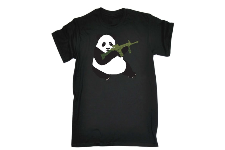 123T Funny Tee - Armed Panda - (4X-Large Black Mens T Shirt)