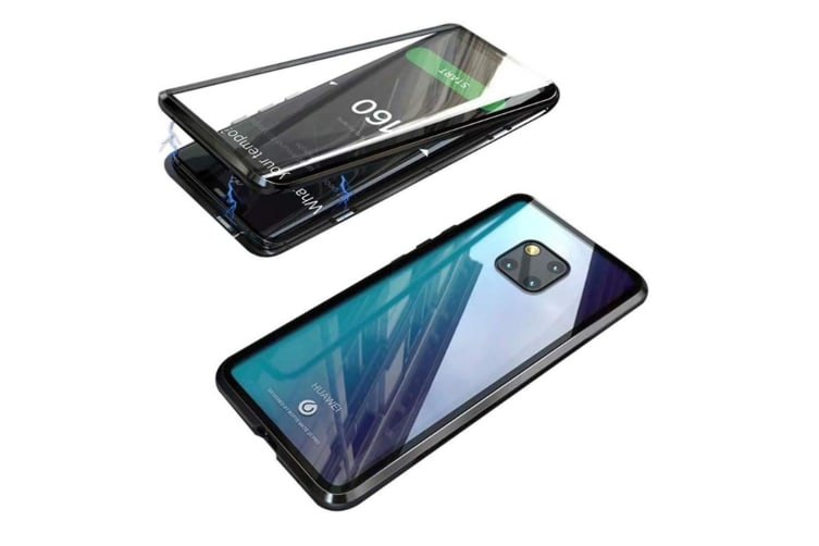 WJS 360 Degree Transparent Tempered Glass Cover Strong Magnetic Adsorption Technology Metal Bumper Compatible with Huawei-P30