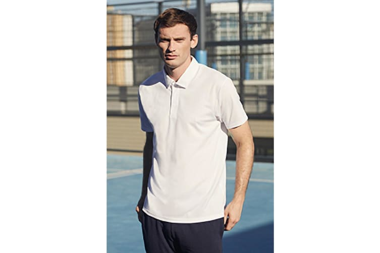 Fruit Of The Loom Mens Short Sleeve Moisture Wicking Performance Polo Shirt (White) (L)