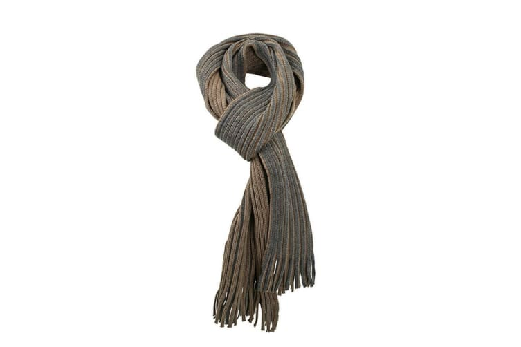 Myrtle Beach Adults Unisex Ribbed Scarf (Dark Olive Green/Anthracite Grey) (One Size)