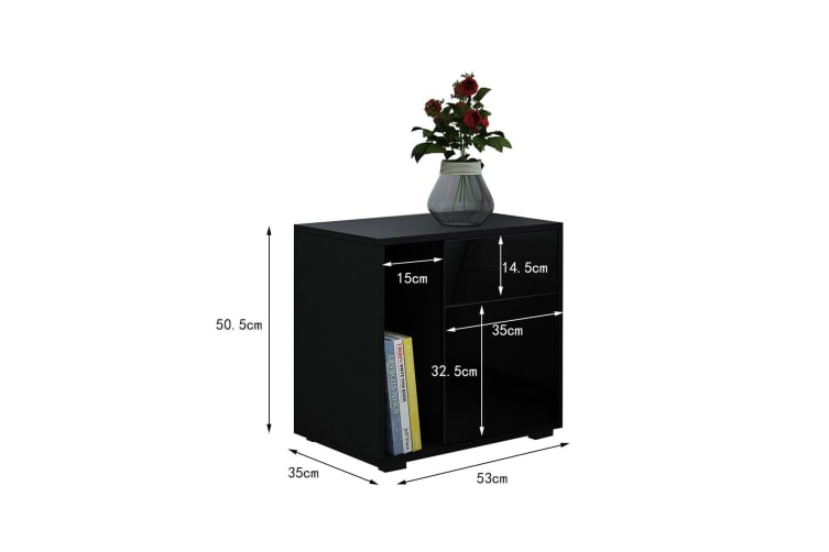 Nightstand Beside Table with Drawer Door High Gloss Front Black