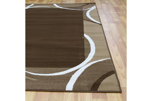 Crescent Border Pattern Rug Brown Beige 230x160cm