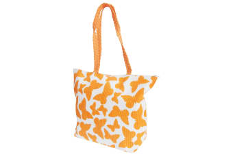 FLOSO Womens/Ladies Straw Woven Butterfly Print Top Handle Handbag (White/Orange)