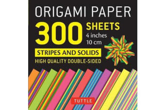 Origami Paper - Stripes and Solids - 4 inch - 300 sheets - Tuttle Origami Paper: High-Quality Origami Sheets Printed with 12 Different Designs