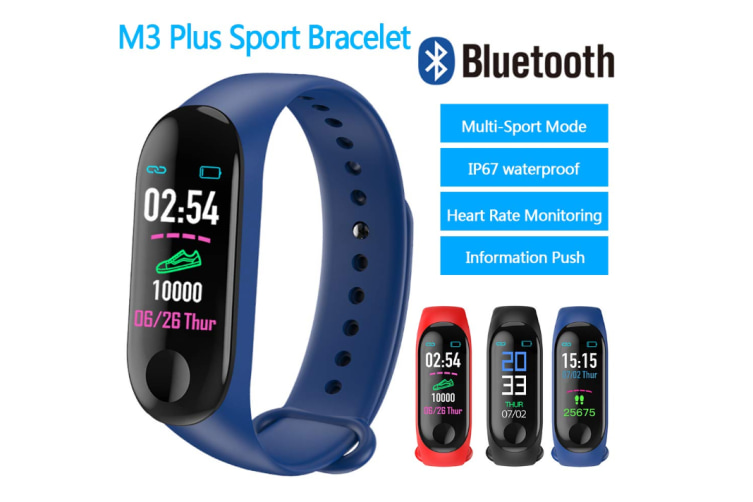 Smart Band Wristband IP67 Waterproof Sleep Heart Rate Monitor Compatible with Compatible System Android/iOS-Blue