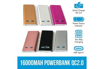 Maxxlee16000 mAh Powerbank Battery Charger QC2.0 Type-C Portable Quick Charge USB SILVER Elinz