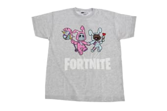 Fortnite Childrens/Kids Bunny Trouble Short Sleeve T-Shirt (Grey) (Youth Large)
