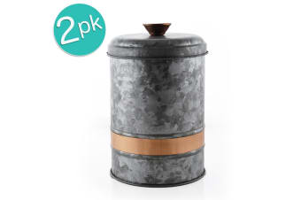 2x ThirstyStone MED 23x15cm Galvanize Iron Canister Jar Food Storage Container
