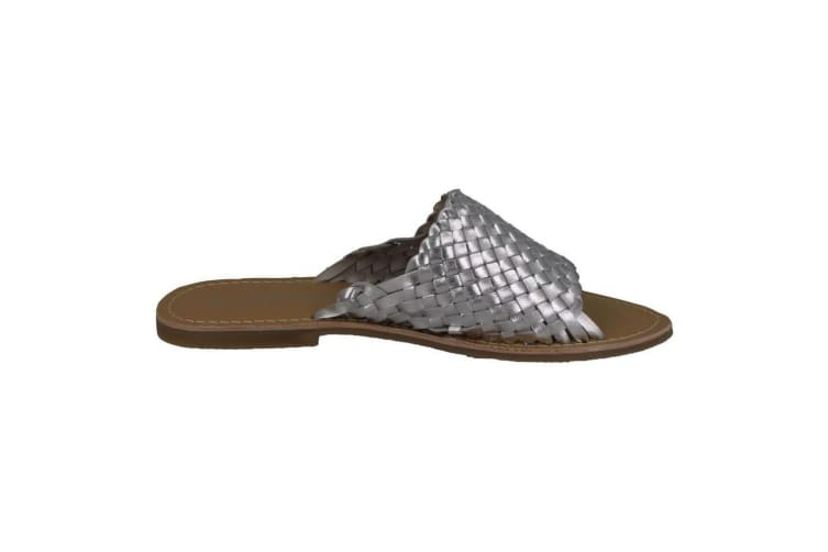 Leather Collection Womens/Ladies Flat Weave Vamp Mules (Silver) (5 UK)