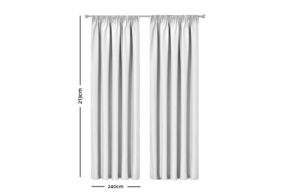 Artqueen 2x Pinch Pleat Blockout Curtains Room Darkening Drapes 240x213cm White