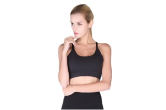 Womens Racerback Sports Bra Wirefree High Impact Support For Yoga Workout Black M