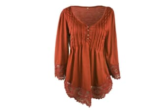 Women's Flare Sleeve Lace Splice Loose Trim Casual Blouse T-shirt Tops 2XL
