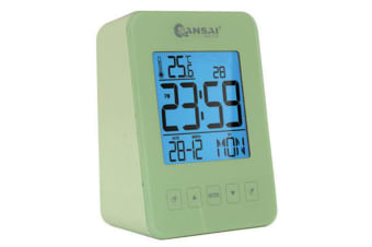 Sansai Green Calendar LCD Alarm Clock Date/Temp Digital Display Table/Desk