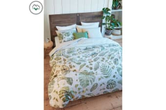 Botanique Green Cotton Sateen Quilt Cover Set by Bedding House