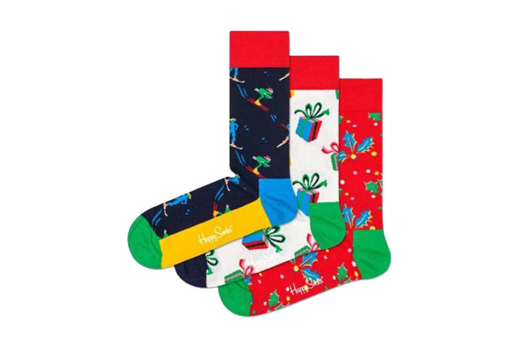 Happy Socks Playing Holiday Gift Box (Green/Red, Size 36-40)