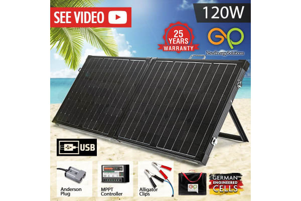 Black 120W Portable Folding (2-Fold) Solar Panels