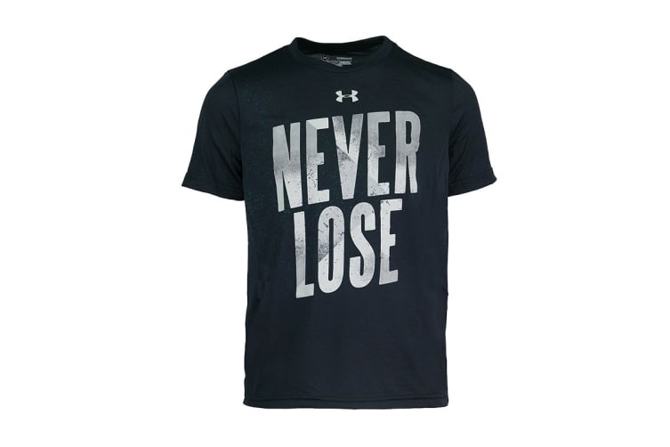 Under Armour Boys' UA Never Lose Graphic T-Shirt (Black/Grey, Size M)