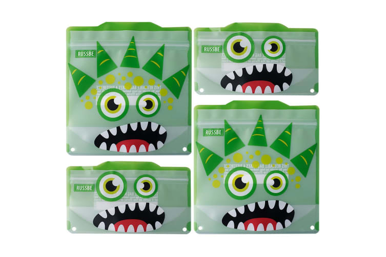 Russbe Reusable Snack And Sandwich Bags - Set 4-green Monster