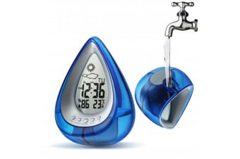 Water Powered Weather Station Clock Large Lcd Display Temperature - Blue