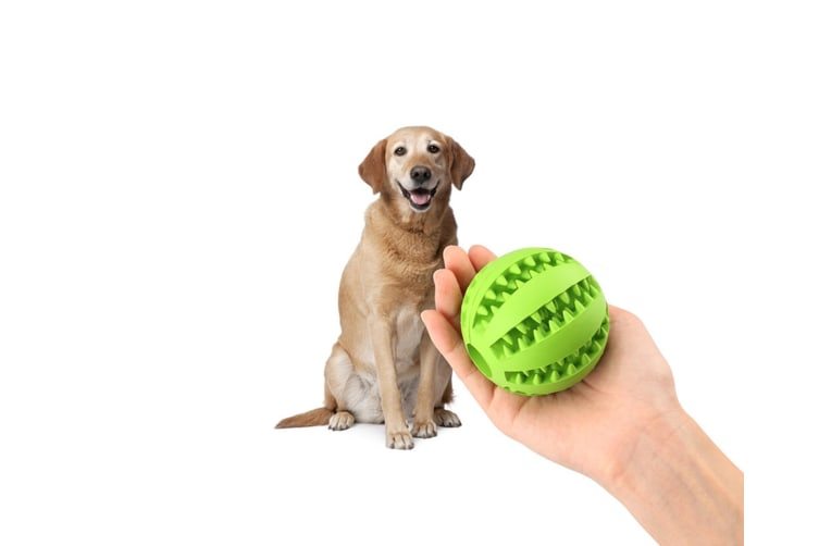 Food Dispensing Dog Toy,Non-Toxic Natural Rubber Tooth Cleaning Toy Yellow 7Cm