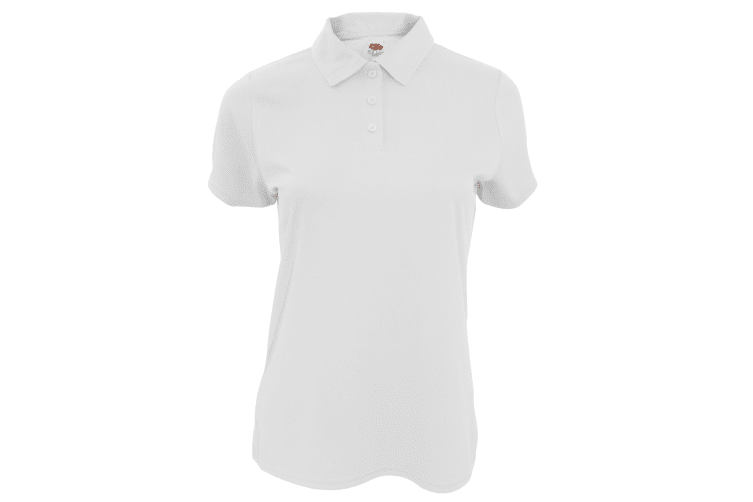 Fruit Of The Loom Womens/Ladies Moisture Wicking Lady-Fit Performance Polo Shirt (White) (XS)