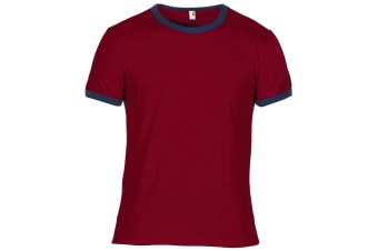 Anvil Mens Plain Lightweight Ringer T-Shirt (Independence Red/Navy) (XL)
