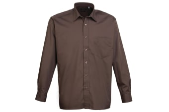 Premier Mens Long Sleeve Formal Plain Work Poplin Shirt (Brown) (19)