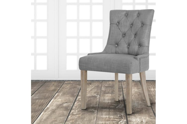 Artiss Dining Chairs French Provincial Chair Wooden Fabric Retro Kitchen Grey