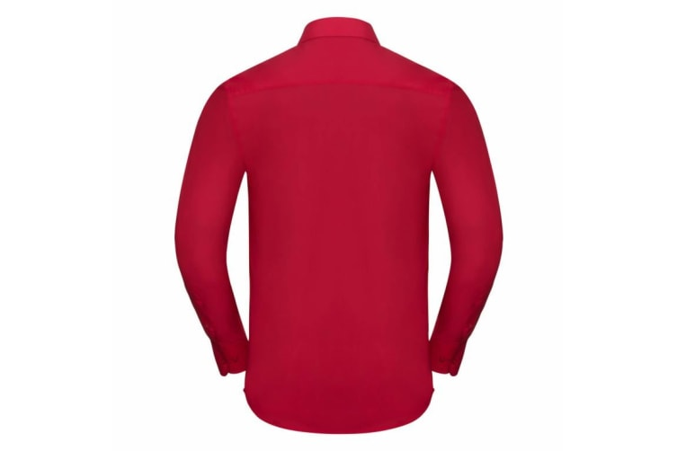 Russell Collection Mens Long Sleeve Poly-Cotton Easy Care Tailored Poplin Shirt (Classic Red) (2XL)