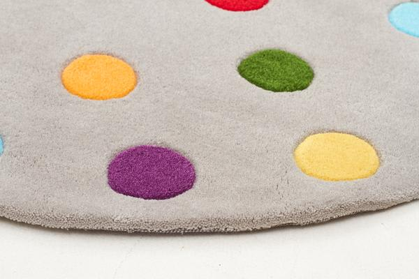 Kids Dots Design Rug Grey 120x120cm