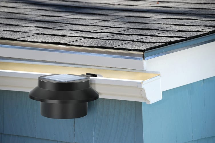 Solar Powered LED Gutter Lights (Black) - 4 Pack