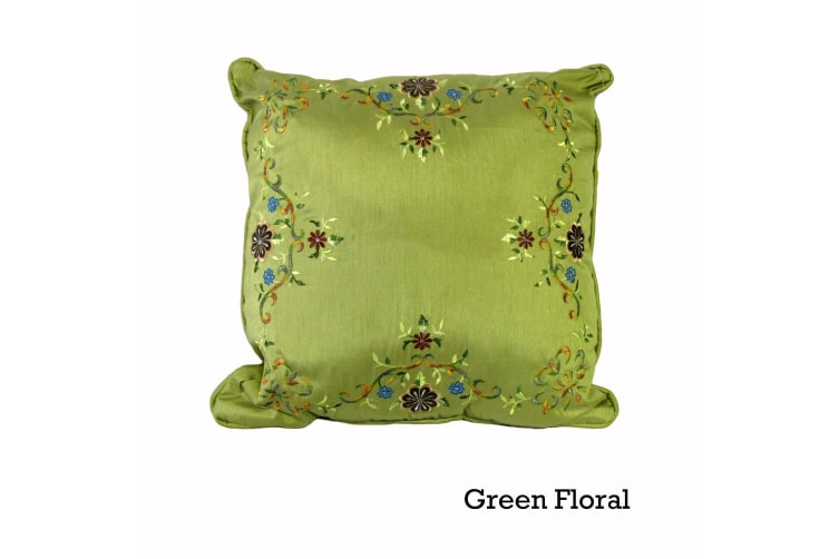Silk Road 45x45 cm Filled Square Cushion Green Floral
