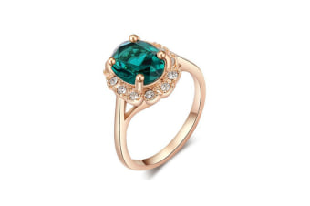 Rose Gold Plated 4 Prong With Shinning Green Austrian Crystal Gorgeous Engagement Ring 9