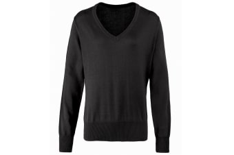 Premier Womens/Ladies V-Neck Knitted Sweater / Top (Black) (16)