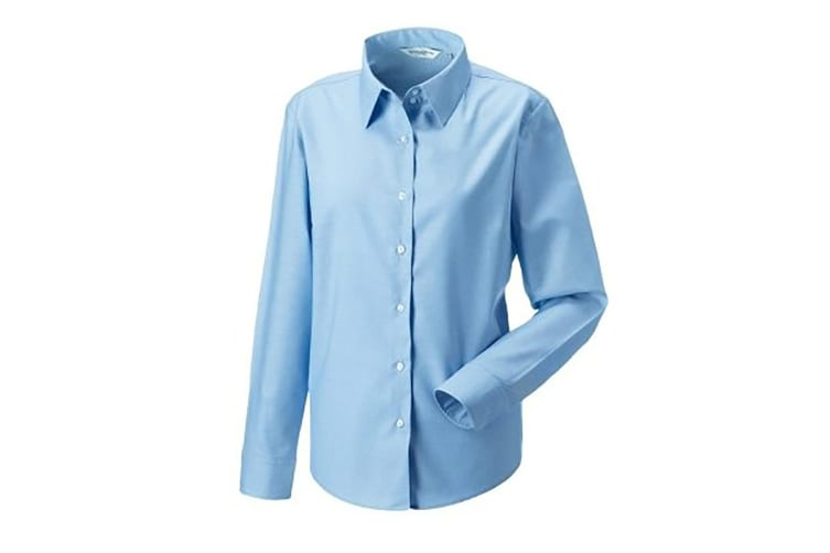 Russell Collection Ladies/Womens Long Sleeve Easy Care Oxford Shirt (Oxford Blue) (3XL)