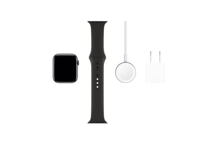 Apple Watch Series 5 (Space Gray Aluminum, 44mm, Black Sport Band, Cellular)