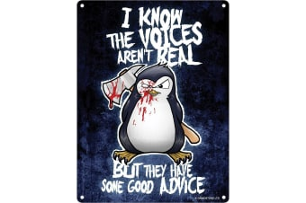 Psycho Penguin The Voices Aren't Real Mini Tin Sign (Black)