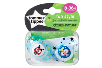 Tommee Tippee Closer to Nature Fun Time Soother 2 Pack - Boy - 18 to 36 months