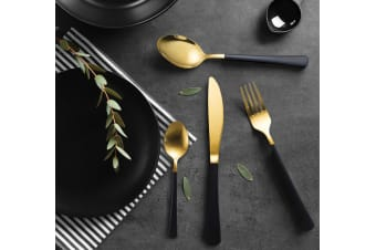 Milano Decor 16pc Cutlery Set Black & Gold Stainless Steel Knife Fork Tea Spoon